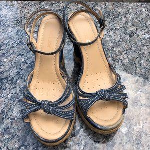 GEOX denim platform ankle strap sandals 💋